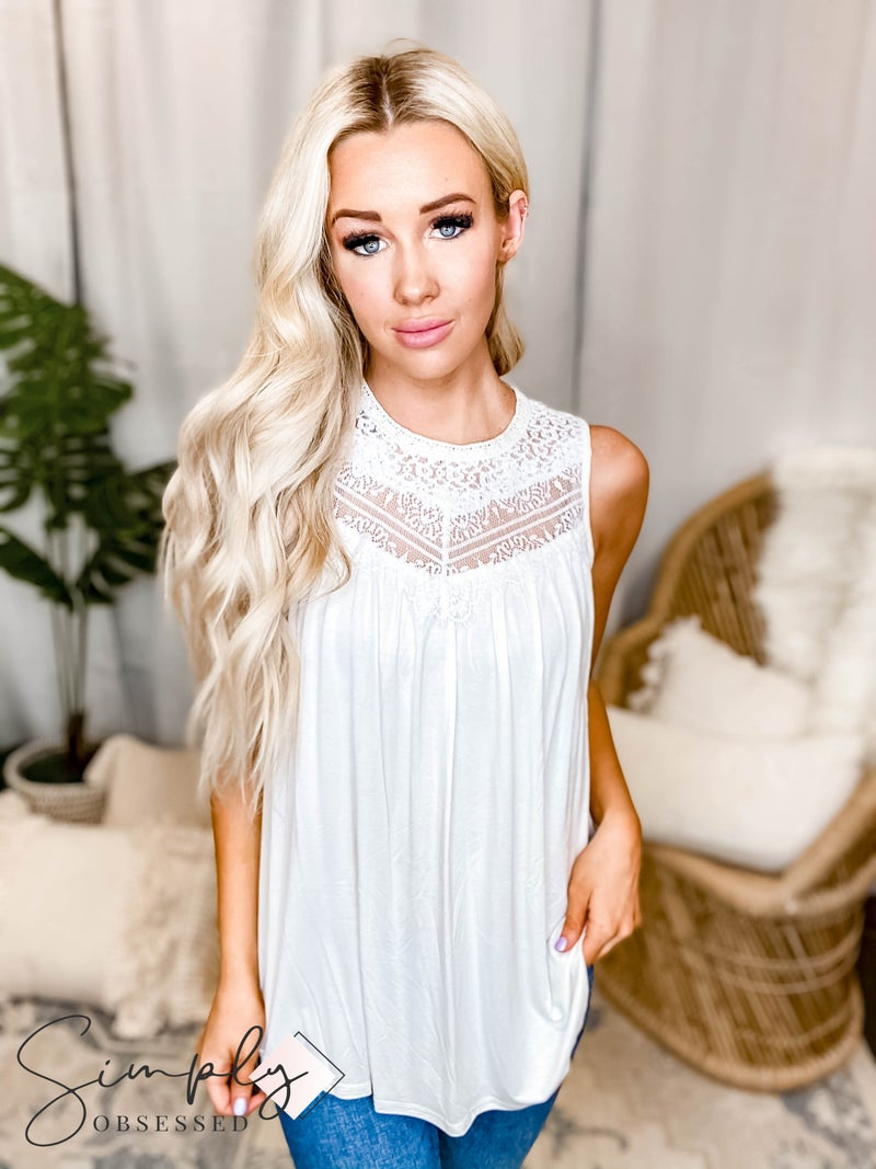 Allie Rose - Romantic Mixed Lace Knit Tank