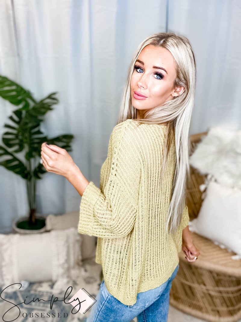 EE:Some - Waffle Knit Long Sleeve Sweater