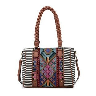 Jen & Co - Aztec embroidered tote with top zipper closure and braided handles. Adjustable/detachable shoulder strap and back zipper pocket