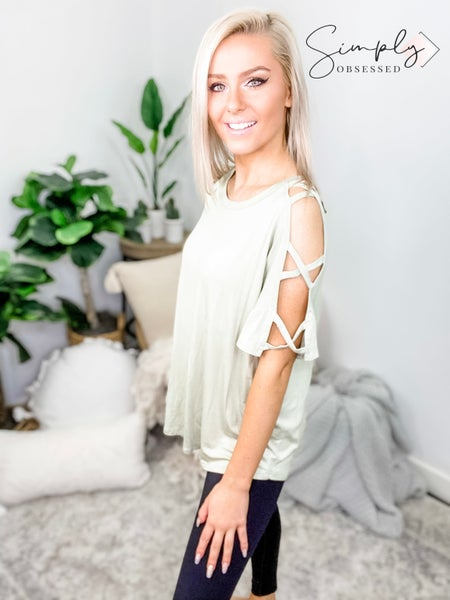 FANTASTIC FAWN-Short Sleeve Strappy Cutout Shoulder Top