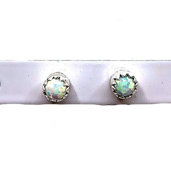M&S - White Opal Stud Earrings