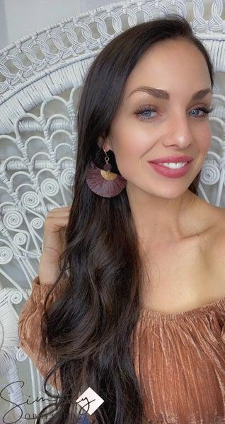 BOHO - Fan Tassel Earrings with Gold Details