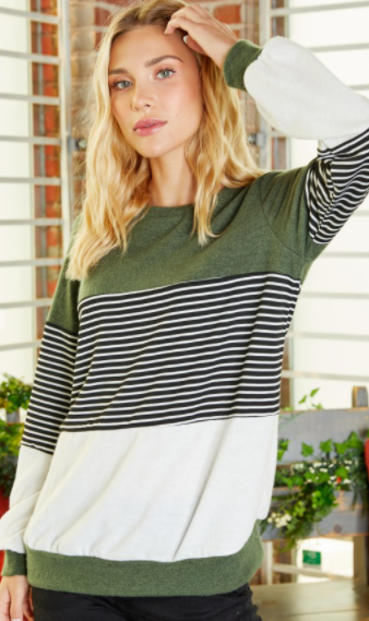 First Dibs Hailey & Co -  Long sleeve stripe and solid mixed top