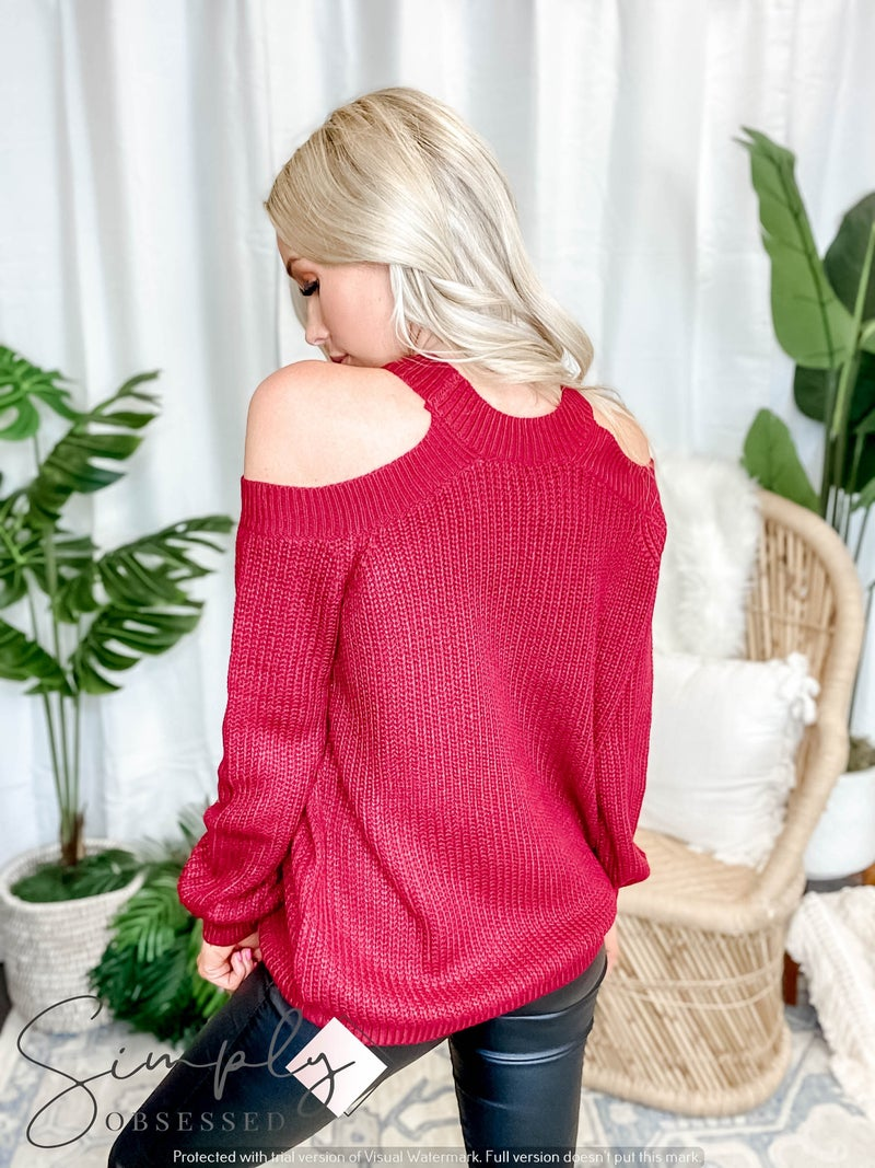 Blue B - Cold Shoulder Long Sleeve Sweater Top