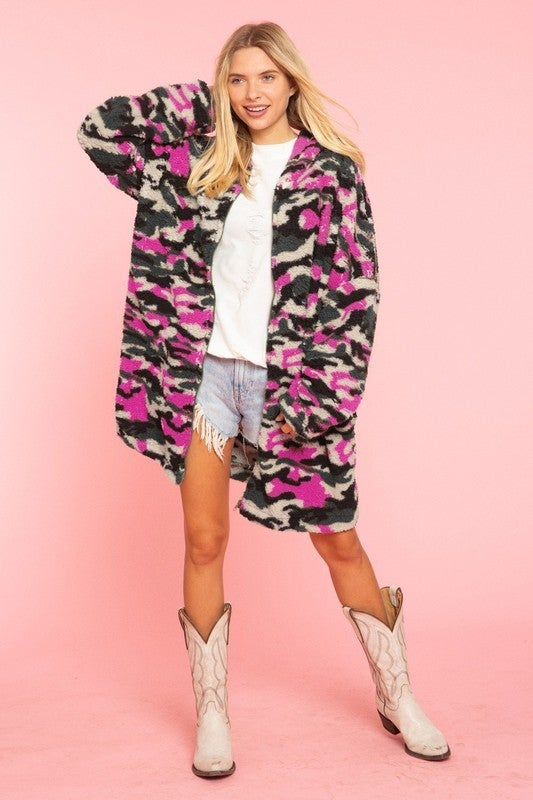 Blue Buttercup - Hooded Army Fur Jacket