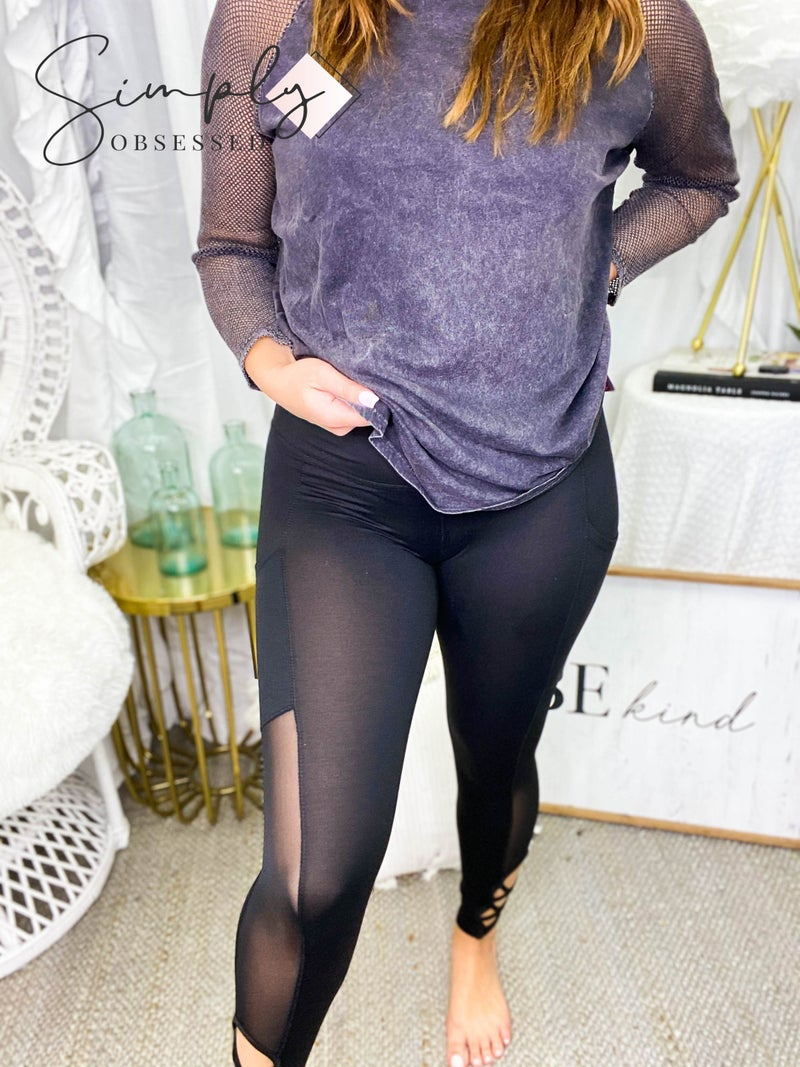 S&G APPAREL-High Waist Tummy Control Legging With Pocket, Strap Detail, And Mesh