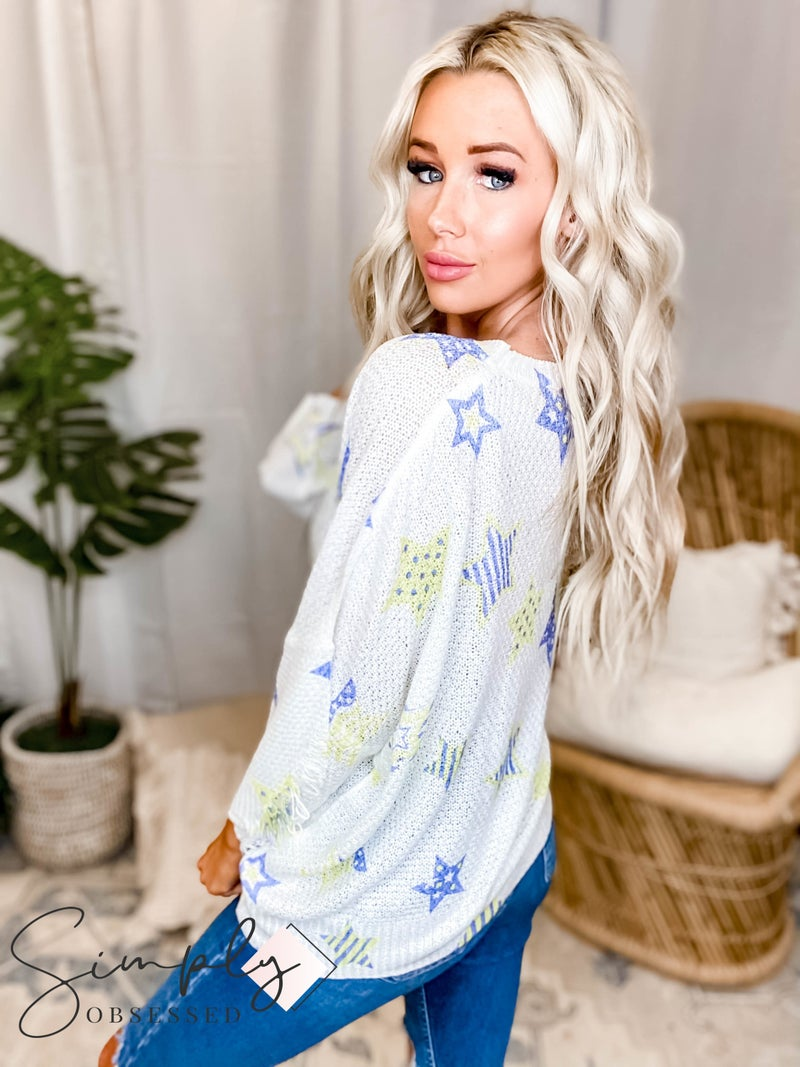 POL - Light Sweater with Star Prints, Round Neck and Boxy Fit