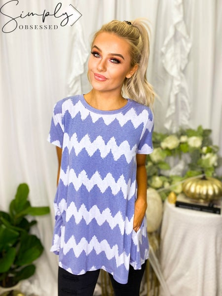 Sew In Love - Short sleeve striped pattern flowy top with pockets (all sizes)