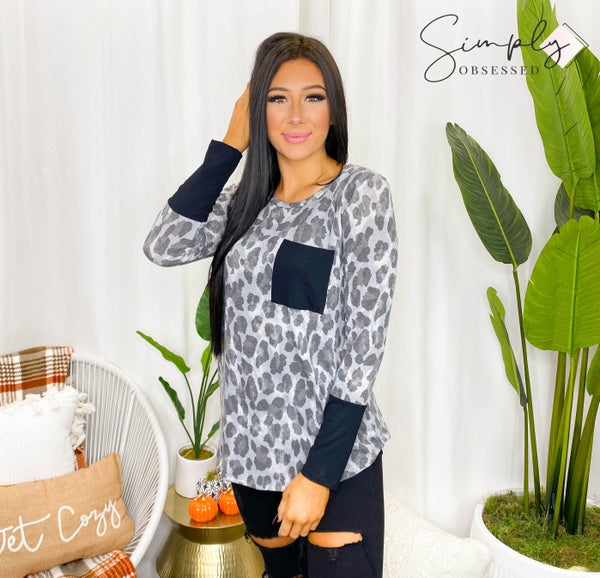 Flamingo - Long sleeve leopard print top with pocket and contrast sleeves (all sizes)