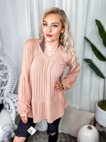 First Dibs Hailey & Co - Babydoll silhouette rib knit top with balloon sleeves