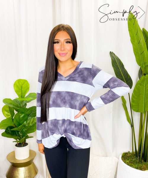 Now N Forever - Long sleeve v-neck striped knit top (all sizes)