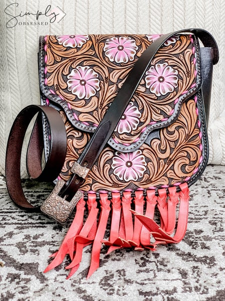 American Darling - Hand crafted leather floral bag