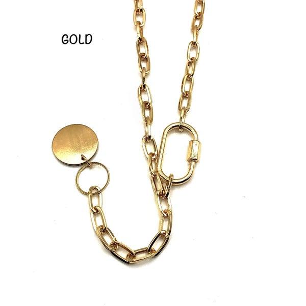 E R - Gold Chain with Twist Lock Charm