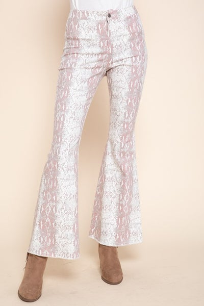 Mittoshop - Snake print bell bottom pants