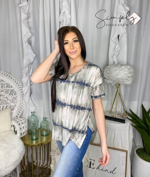 Sew In Love - Short sleeve tie dye top with cuffed sleeves (plus)