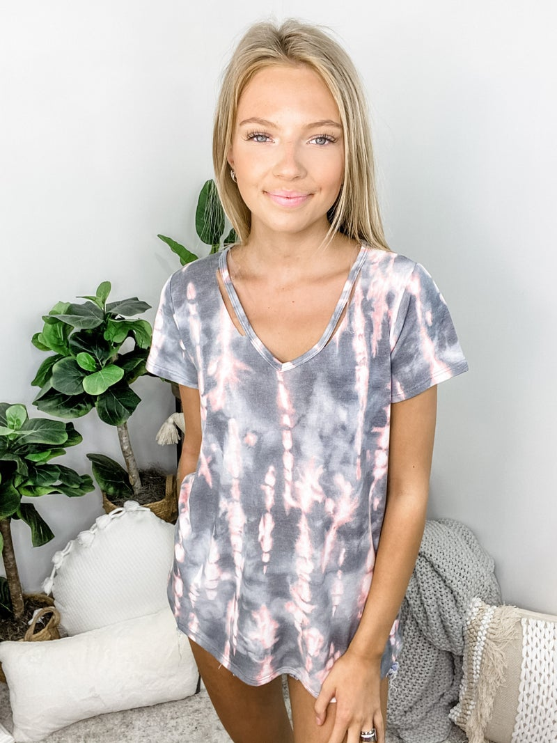 HAPTICS-Tie Dye Thermal V Short Sleeve Knit Hi Low Top With Side Slits