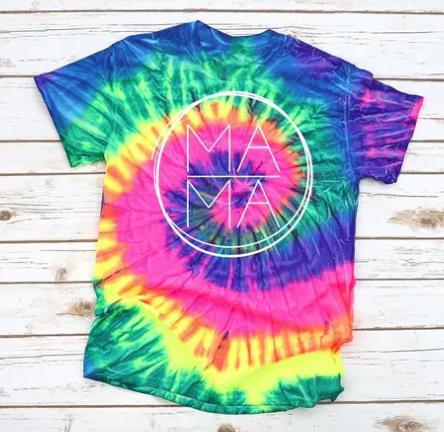 "Colortone - Circle outline "" MA MA"" print tie dye top(plus)"