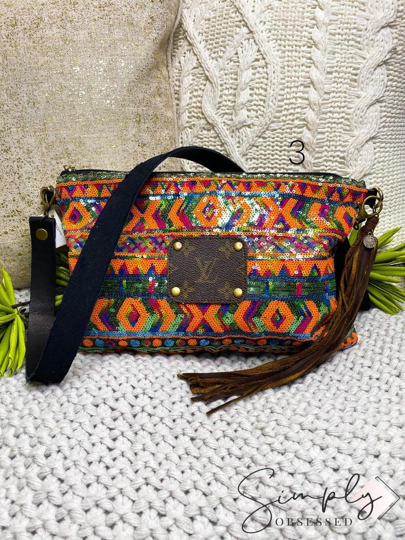 Sequin and tassel detail cross body bag