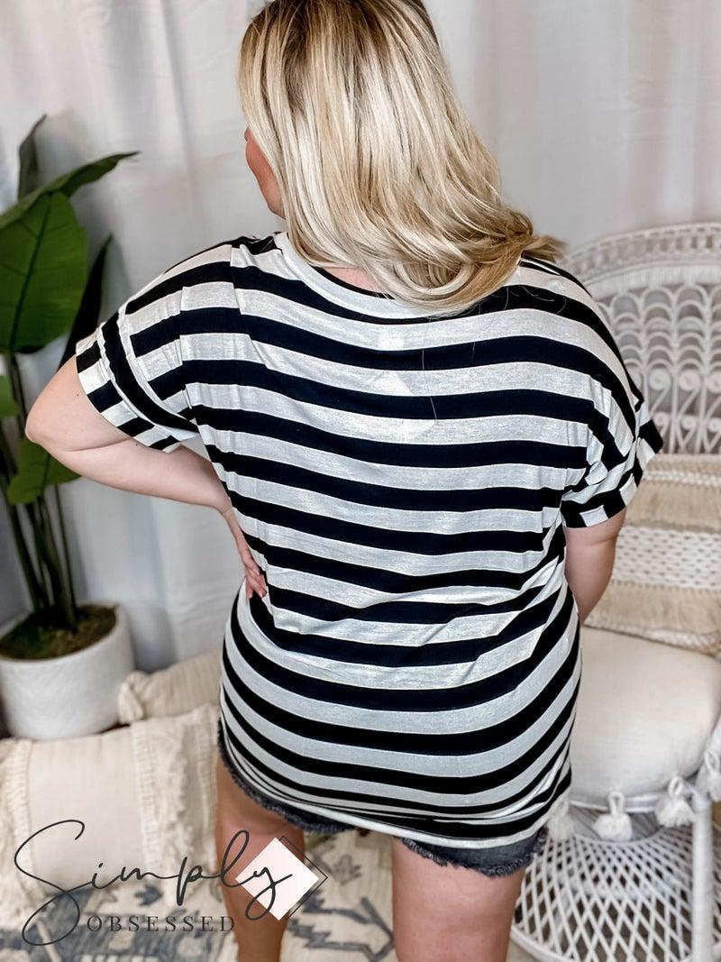 Sew In Love - Striped V Neck Top W/ Pocket