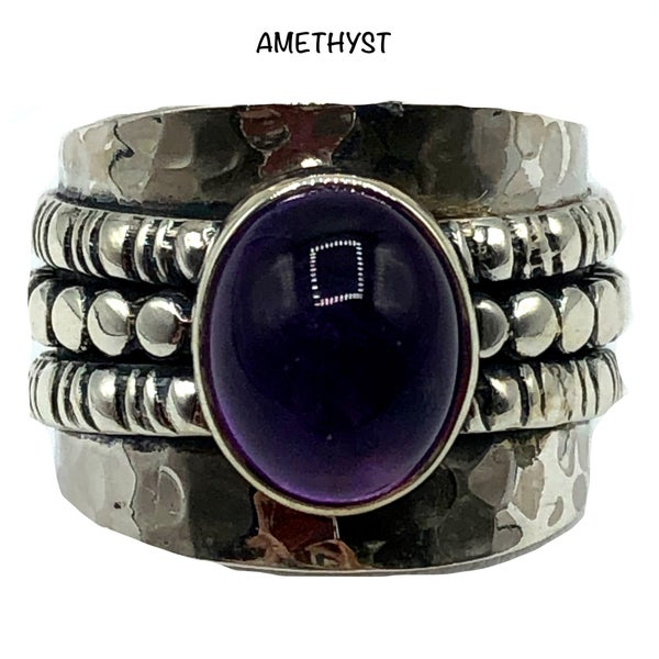 Wide Band Amethyst Oval Stone Beveled Ring