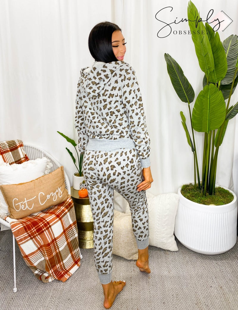 Blue B - Leopard print zip up hooded jacket with drawstring elastic joggers set