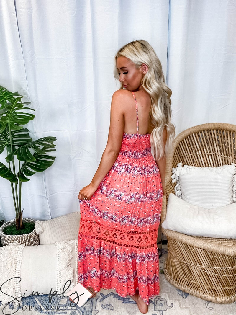 White Birch - Sleeveless Floral Print Woven Maxi Dress with Button-Down Front
