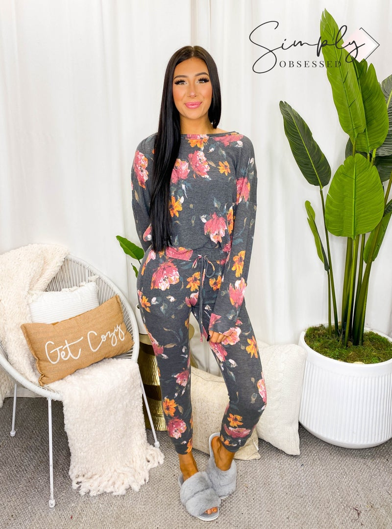 White Birch - Long sleeve floral top and joggers set (all sizes)