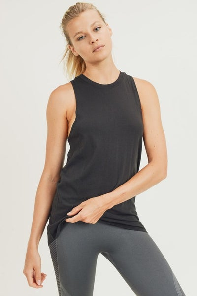 Mono B - Twist Back Racerback Athleisure Tank Top