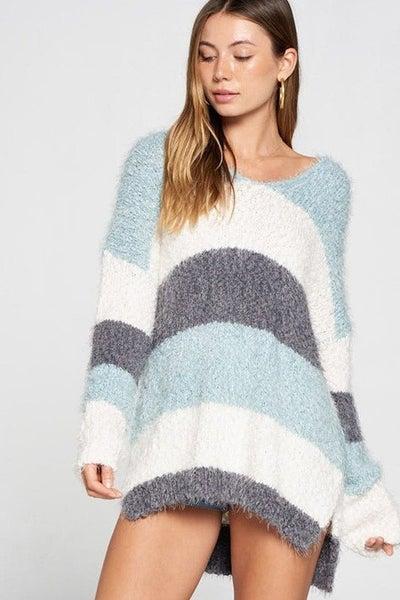 Davi & Dani - Colorblock striped thick knit sweater (all sizes)