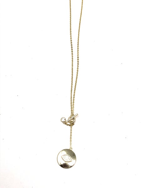 CZ Bar w/drop Evil Eye Disc Gold Necklace