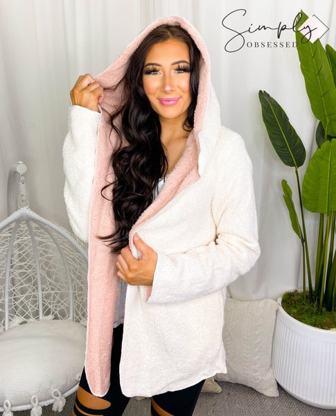 Listicle - Faux shearling hooded cardigan