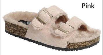 Forever - Furry adjustable buckle slip on sandals