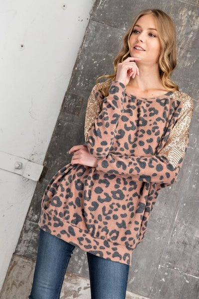 FSL Apparel - Long sleeve animal print top with sequin contrast