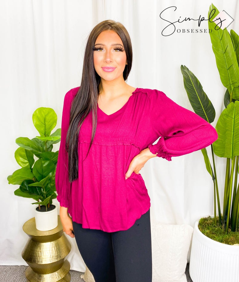 LIME'N'CHILI-V NECK EMPIRE RUFFLE LONG SLEEVE WITH SMOKING TOP