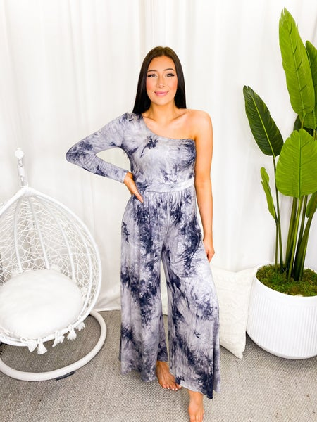 Veveret - Tie dye printed one shoulder wide pants jumpsuit