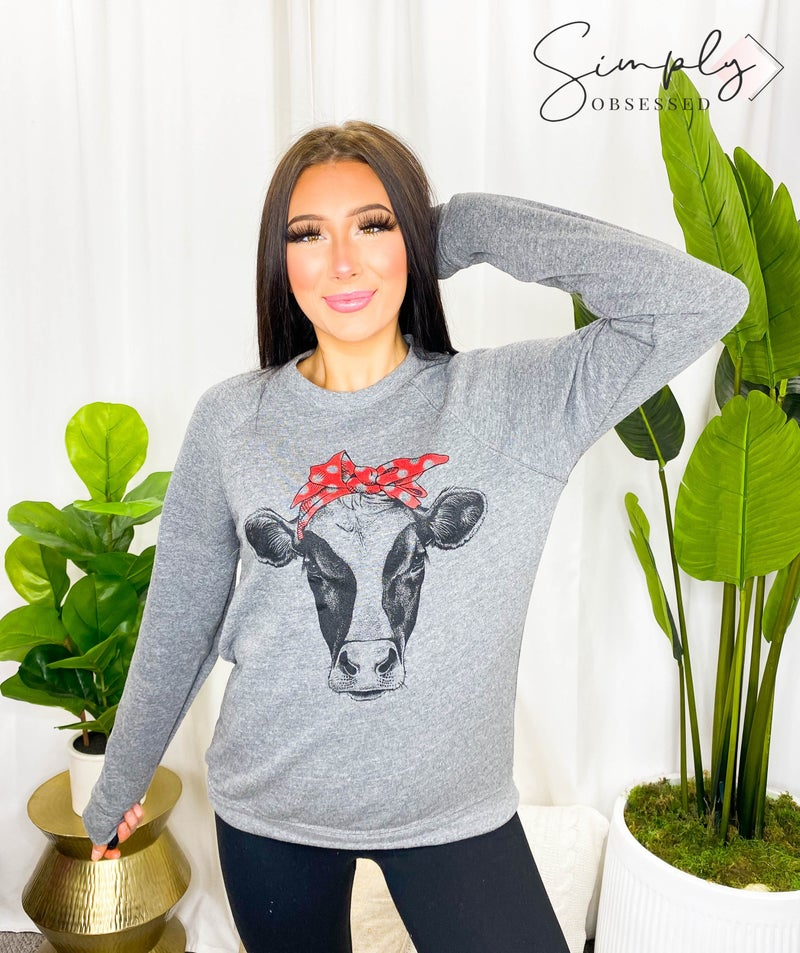 Kissed Apparel - Round Neck Sweatshirt with Cow Graphic