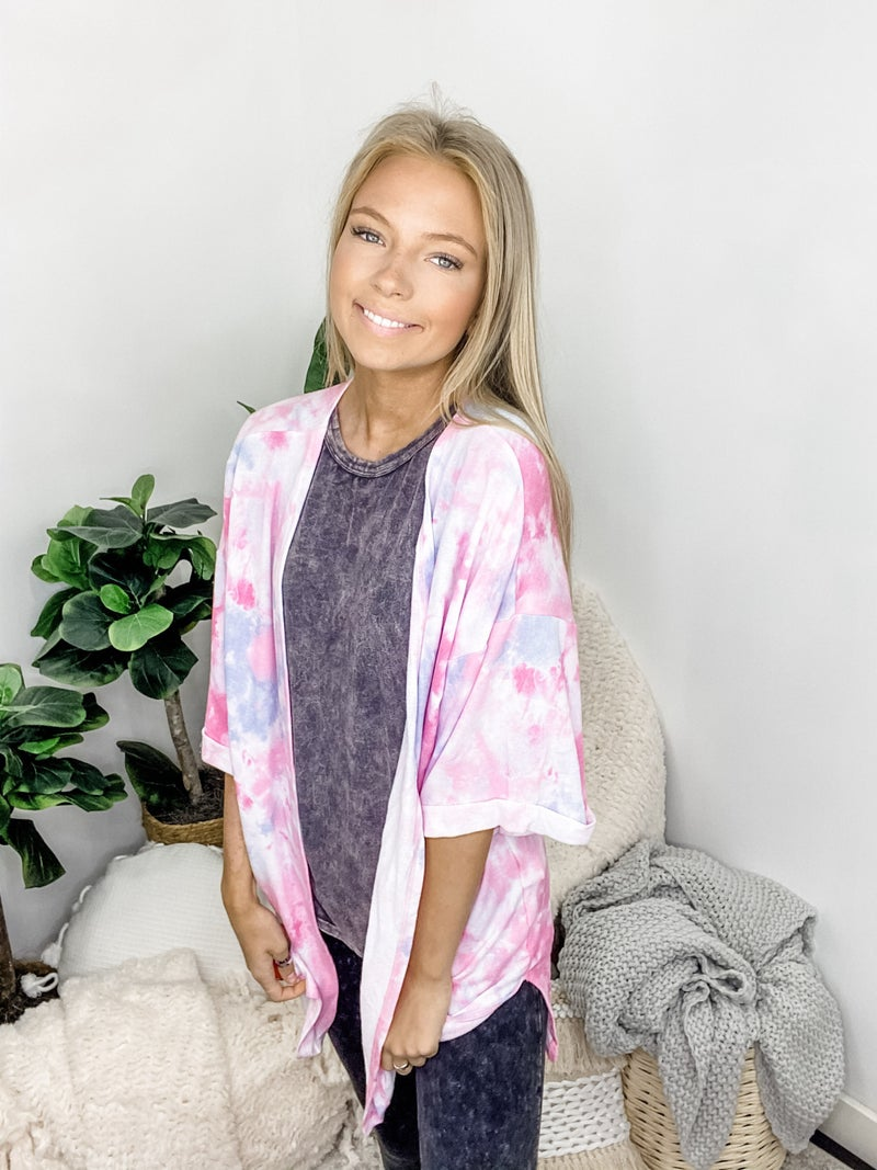 WHITE BIRCH-Short Sleeve Tie Dye Knit Cardigan With Open Front And Slits