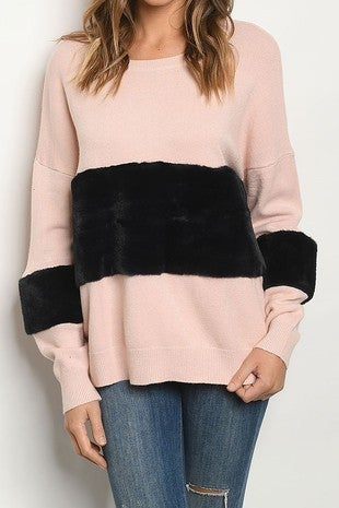 ROUSSEAU-LONG SLEEVE SCOOP NECK FAUX FUR PULL OVER KNIT SWEATER