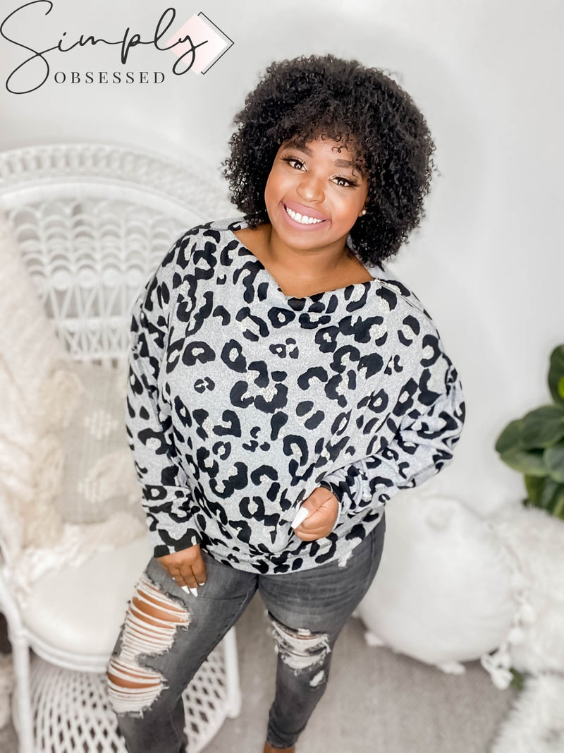 White Birch - Long sleeve cheetah print top(All Sizes)