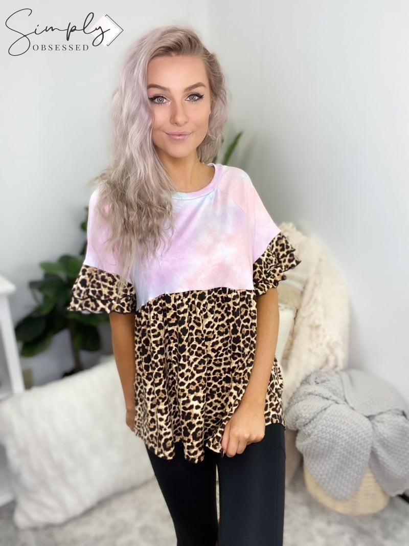 White Birch - Short ruffled sleeve tie dye and cheetah print top