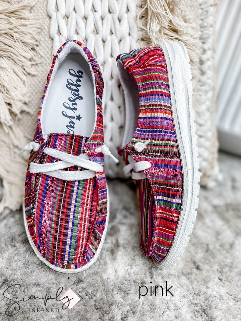 Gypsy Jazz - Striped Slip On Shoes with Laces