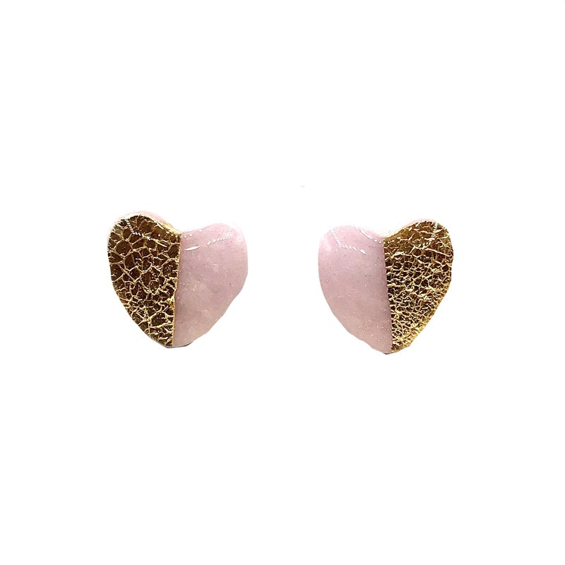 Clay N' Wire - Pink & Gold Heart Stud Earrings