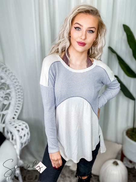 First Dibs Hailey & Co - Long sleeve knit top with contrasting striped rib and reverse cover stitch