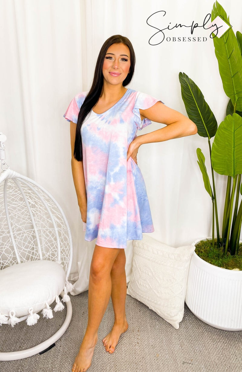 White Birch - Short ruffled sleeve v-neck tie dye t-shirt dress