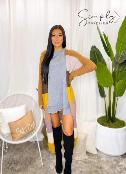 KyeMi - Long sleeve multi color knit maxi cardigan