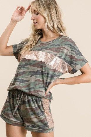 Vanilla Bay - Short sleeve camo top & shorts set with sequin contrast