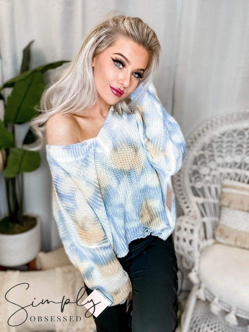 Blue B - Ripped Neck & Bottom Oversized Sweater Crop Top