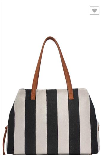 Bag Boutique - Fashion striped canvas satchel bag