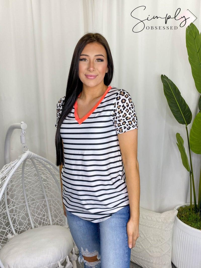 Vanilla Bay - Stripe knit top featuring leopard print short sleeves