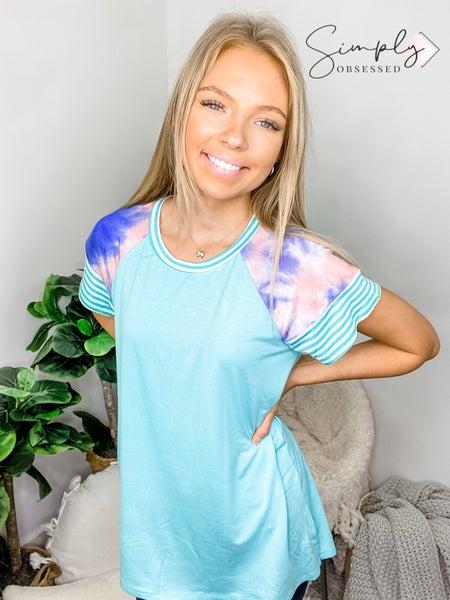 Hailey & Co - Raglan short sleeve top with tie dye contrast
